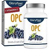 Integratore OPC (95%) Estratto di semi d'uva Resveratrolo con Vitamina C, 180 Capsule Vegan, 1000mg di OPC puro da Uve France