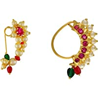 Vail Creations Big Size Traditional Maharashtrian Nose ring without piercing Pearl Gold Plated Nath Clip On Nose Ring…