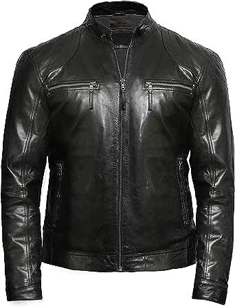 BRANDSLOCK Mens Genuine Leather Biker Jacket Vintage Crinkle Retro