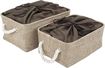 HomeStorie® Cloth Storage Basket Bin Organizer with Lid (Drawstring Closure), Set of 2
