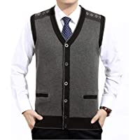 GL SUIT Men's V-Neck Vest Sleeveless Knitted Geilt Knitwear Autumn and Winter Classic Gentleman Cardigans Knitted…