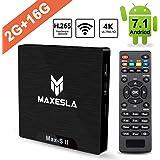 Android TV Box 2018 Dernière - Maxesla Max-S II Android 7.1 Système, 2GB RAM + 16GB eMMC, Quad Core 64Bits CPU Amlogic S905W, Support Réel 4K*2K, WiFi 2.4Ghz, Smart TV Box