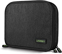 UGREEN Electronic Organizer, Double Layer Travel Gadget Bag for USB Cable, SD Card, Hard Drive, Power Bank, Digital Camera, iPad Mini/Nintendo Swith Console/E-Book or Tablet (up to 7.9'')