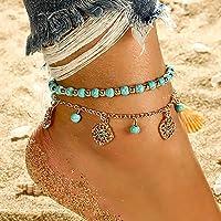 Bohend Boho Spiaggia Cavigliera Oro Turchese Bracciale Multilayered Cavigliere Perlina Ciondolo Regolabile Catena del…
