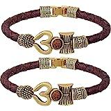 Myaka Antique Stylish Rudraksha Trishul Damroo Bahubali Leather Bracelet Kada ( Pack of 2 )