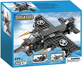 Webby Creator 3 in 1 Airplane Helicopter Army Boat Blocks Toy, 177 Pieces
