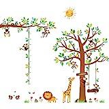 DECOWALL DA-1401P1402 8 Kleine aapjes Boom en dieren Hoogte grafiek Kinderen muurstickers Schil en plak Afneembaar baby Kinde