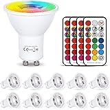 Ledlamp GU10 RGB+warm wit kleurverandering spot licht dimbaar 6W, 540LM, AC 85V - 265V, met IR-afstandsbediening voor wandlam