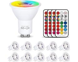 HYDONG Ampoule GU10 LED Couleur Changement 6W Dimmable LED Spot Bulb RVB + Blanc Chaud 2700K,12 Couleurs avec Télécommande, A