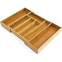 Relaxdays Organiseur de tiroir pour la cuisine réglable HxlxP: 5 x 48 x 34 cm range-couverts ajustable de 5 à 7 compartiments en bois de bambou télescopique penderie bureau armoire, nature