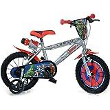 Dinobikes Avengers Kinderfiets voor jongens, 14 inch, met voorwielrem op het stuur, steunwielen, grijs/zilver