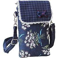 LEUCHTBOX Handytasche Kleine Schultertasche Crossbody Umhängetasche für Damen Mädchen Baumwolle 3 Innentaschen Süßer…
