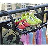 FLYNGO Foldable Stainless Steel Clothes Dryer Stand Drying Rack for Balcony, Window, Guardrail, and Corridor Multipurpose Tow