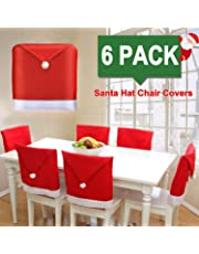 BRIDA® Stretchable Floral Printed Dining Decoration Christmas Chair Covers Elastic Chair Seat Case Protector, Slipcover Santa Hat Chair Covers Set of 6 (Santa Claus Red)