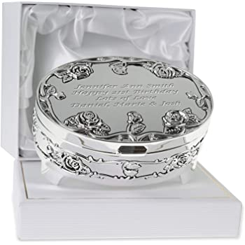 De Walden Girls 21st Birthday Gift Engraved Silver Plated Rose Trinket Box In A Presentation For Twenty First 21