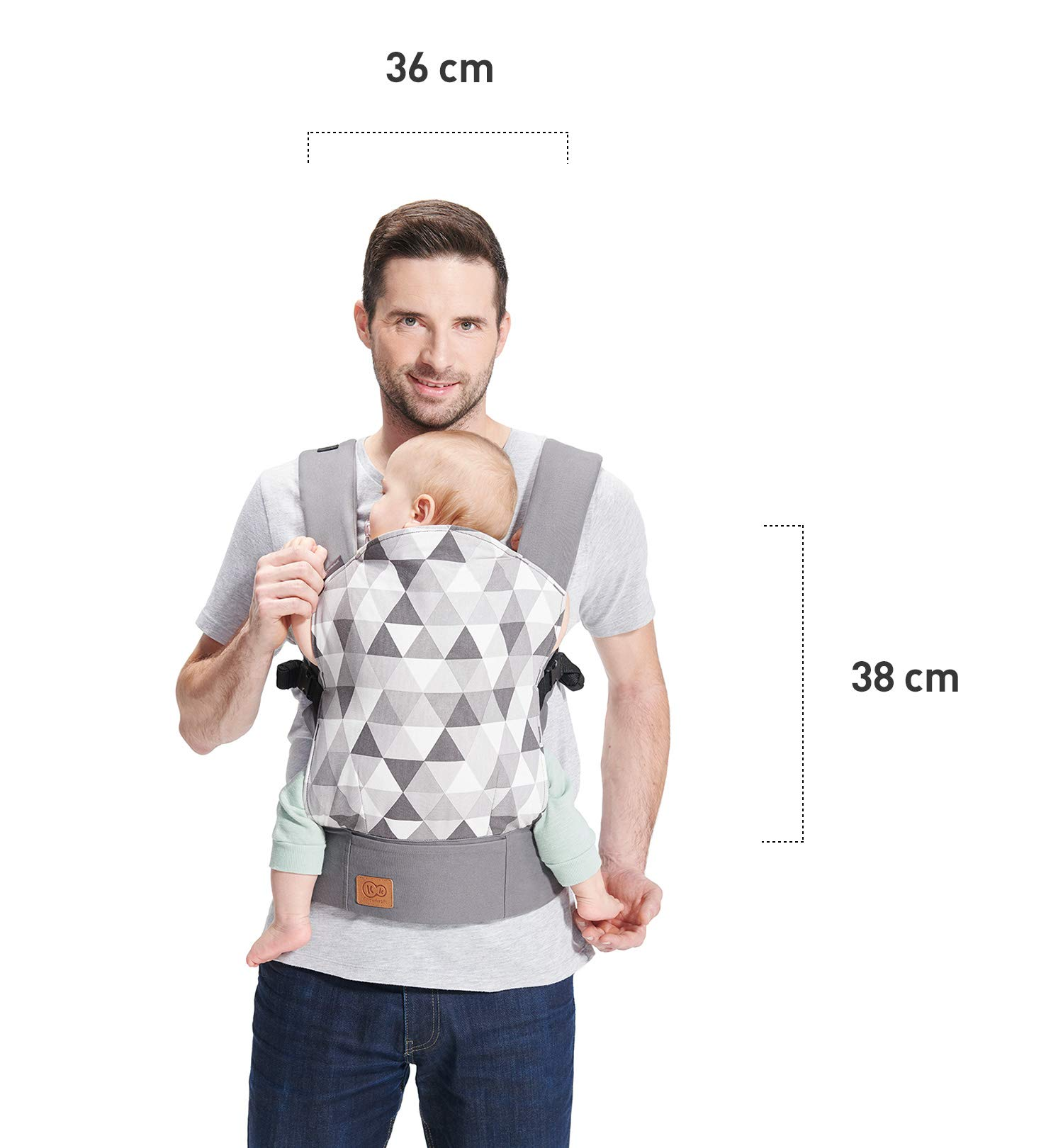 kk Kinderkraft Nino Ergonomic Baby Carrier Front Gray kk KinderKraft Thanks to a special, well-profiled layer, the baby's head does not tilt Ergonomic baby carrier for children aged from 3 months up to 20 kg The compact baby carrier can be folded to a small size and weighs only 0.39 kg 4