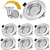 Lot de 6 Spots LED Encastrables Orientables Dimmables, Bojim Luminaires Encastrés GU10 6W Eqv.54W Blanc Chaud 2800K 600LM 82R