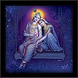 LIFEHAXTORE Wood Krishna Radha Framed Painting, Multicolour, Religious, 12 x 12 inch