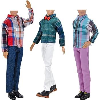 6646ae1d93 Beetest® - 3 Set Moda Abbigliamento Casual Vestiti per Bambole Giacca  Pantaloni Abiti Accessori per