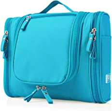 Heavy Duty Waterproof Hanging Side Open Toiletry Bag - Travel Cosmetic Makeup Bag for Women & Shaving Kit Organizer Bag for Men - Large Size: 10.2 x 4.5 x 8.5 Inch Multi Color