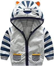 Usstore Infant Toddler Kids Baby Boy Girl Cartoon Animal with Pocket Hooded Zipper Tops Clothes Coat (Gray,12Months-5Years)
