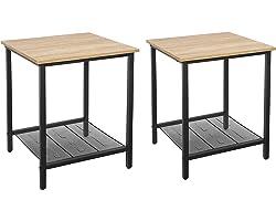 VASAGLE Lot de 2, Table de Chevet de Style Industriel, Structure résistante en Acier, Salon, Chambre à Coucher, Assemblage Si
