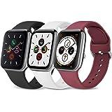 Wanme 3 Pack Compatibile per Cinturino Apple Watch 38mm 40mm 42mm 44mm, Silicone Morbido Cinturini Edizione Sportivo per iWat