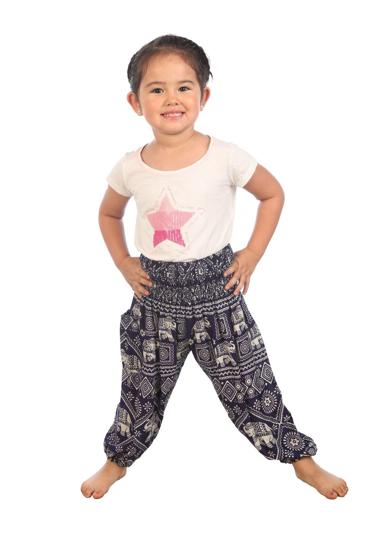 Lofbaz Niños Pantalones Harem de Cintura alforzada Bohemio Aladdin Pantalones 1