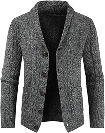 Jmsc Mens Shawl Collar Button Knitted Cardigan Classic Sweater with Pocket Autumn Winter Warm Soft Comfortable Knit Cardigans Business Casual Knitwear Stylish Outwear Solid Color
