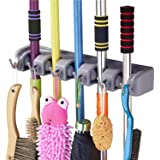 QOZWEID® Mop and Broom Holder; Upgraded with Effective Strong Holding 5 Slot Position with 6 Hooks Garage Storage up to 11 To