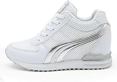 AONEGOLD® Sneakers Zeppa Interna Donna Scarpe da Ginnastica Basse Sportive Fitness Tacco Zeppa 7 CM Nero Bianco Grigio