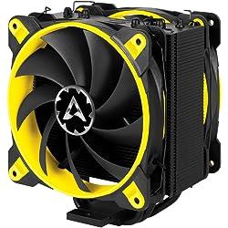 Arctic Freezer eSports Edition – Dissipatore di processore semi-passivo con ventola da PWM 120 mm, Dissipatore per CPU fino una potenza di raffreddamento – Giallo