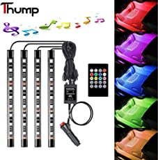 Thump 6W 4 in 1 36 LED Lighting Kit with Car Charger, Sound Activated IR Wireless Remote Control Atmosphere Lamp (Multicolour, HHT-06)-Set of 4