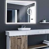 Aquamarin® Miroir de Salle de Bain LED - CEE: A++, Tactile, Mural, Horloge Numérique, 3 en 1 Éclairage Blanc Froid/Chaud…
