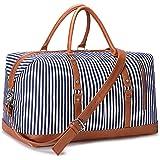 S-ZONE Reisetasche Canvas PU Leder 45L Weekender Tasche Travel Duffle Bag Übergröße Handgepäck mit Abnehmbar Schulterriemen f