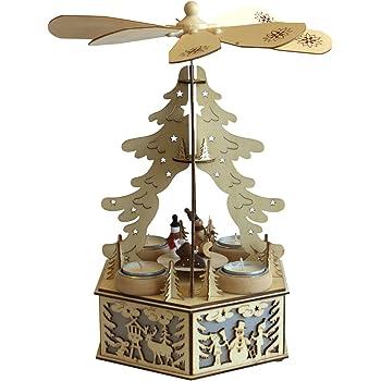 weihnachtspyramide aus holz f r 4 teelichter mit zus tzlicher led garten. Black Bedroom Furniture Sets. Home Design Ideas