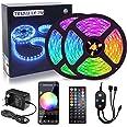15 M LED Strip Light, Slimme Bluetooth APP-Bediening en Afstandsbediening, Dimbaar,Muzieksynchronisatie,RGB,5050,12 V,16 Milj