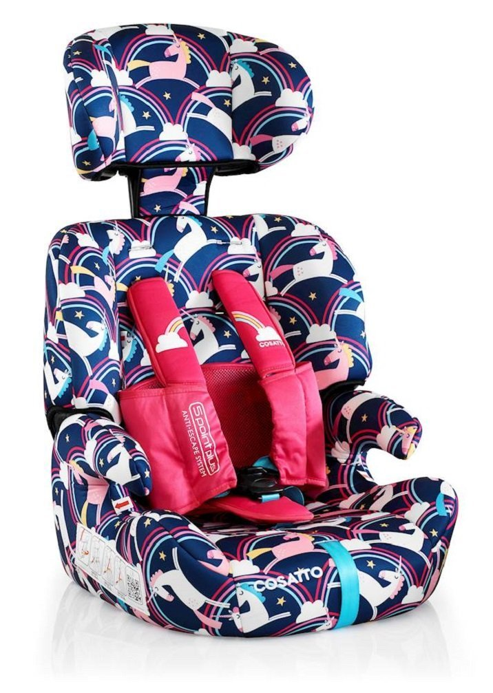 Cosatto Zoomi Car Seat Group 123, 9-36 kg, Magic Unicorns Cosatto Cosatto Zoomi Group 123 Car Seat five point plus anti escape system harness - ideal for keeping little wrigglers in place Suitable from 9 kg-36 kg zoomi's an investment; two part reversible seat liner adjustable headrest chest and tummy pads Removable, washable covers to keep your car seat pristine 3