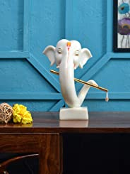 @home by Nilkamal Abstract Ganesha with Flute Showpiece, White