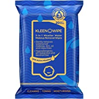 KLEENOWIPE   Waterproof Makeup Removing Facial Wipes with Micellar Water   1 Step Cleansing, Toning & Moisturizing for…
