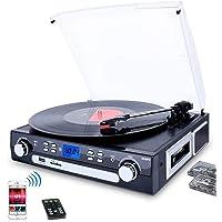 DIGITNOW! Plattenspieler Schallplattenspieler mit Stereo Lautsprechern ,Stützen Bluetooth | Kassette |AM / FM Radio…
