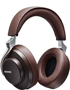 Shure AONIC 50 Kabelloser Kopfhörer mit Geräuschunterdrückung, erstklassiger Klang in Studioqualität, Bluetooth 5, bequemer Over-Ear Sitz, 20 Stunden Akkulaufzeit, komfortable Bedienung - Braun