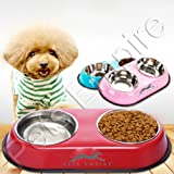 Dog Cat Food Bowls Feeder Double Diner Stainless Steel Pet Bowl Anti Slip Mat 2 X 450 ML-Color May Vary