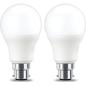 AmazonBasics Bombilla LED B22, 9W (equivalente a 60W), Blanco Cálido, Regulable- 2 unidades