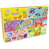 SARTHAM 6 in 1 DIY Art and Craft Kit for Kids - Finger Painting and Painting, Tissue Art, Stamp Art, Blow Painting…