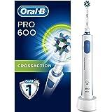 Oral-B PRO 600 Brosse à Dents Électrique Rechargeable avec 1 Manche et 1 Brossette CrossAction, Technologie 3D, Élimine jusqu