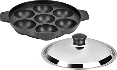 Tosaa Non Stick 7 Cavity Appam Patra with Lid, 17cm