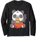 Un panda kawaii japonais mangeant de savoureux ramen Manche Longue