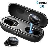 Bluetooth Kopfhörer Kabellose in Ear V5.0 - Stereo Sweat Proof Wireless Kopfhörer Sport bis zu 16 Stunden Spielzeit mit Ladekästchen und Integriertem Mikrofon für alle Bluetooth-Gerät. (Schwarz)