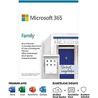 Microsoft 365 Family | 6 Nutzer | Mehrere PCs/Macs, Tablets und mobile Geräte | 1 Jahresabonnement | Box